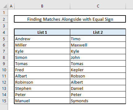 find matches or duplicates in two columns in same row in excel