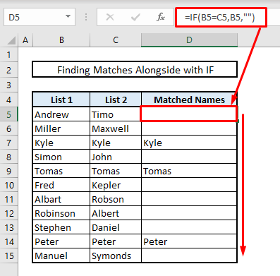 find matches or duplicates in two columns in same row by using if in excel