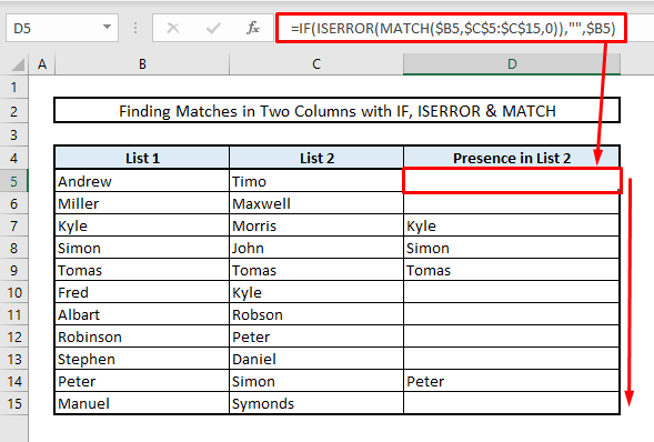 find matches or duplicates in two columns by using if iserror match functions in excel