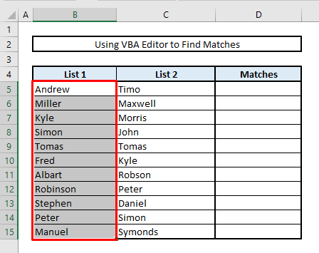 find matches or duplicate values in excel with vba