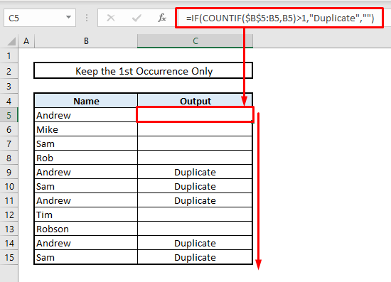 find matches or duplicate values while keeping first occurrence only in excel