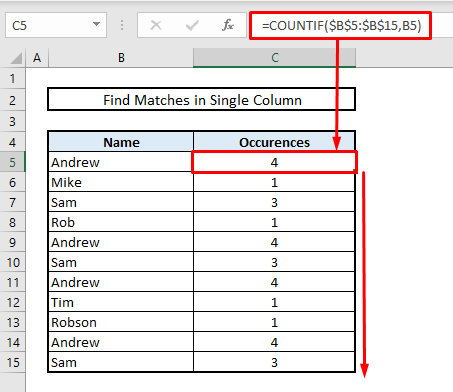 find matches or duplicate values in single column in excel