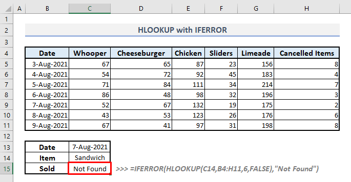 hlookup with iferror function in excel