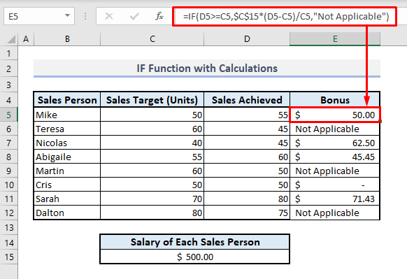 if function with calculation in excel