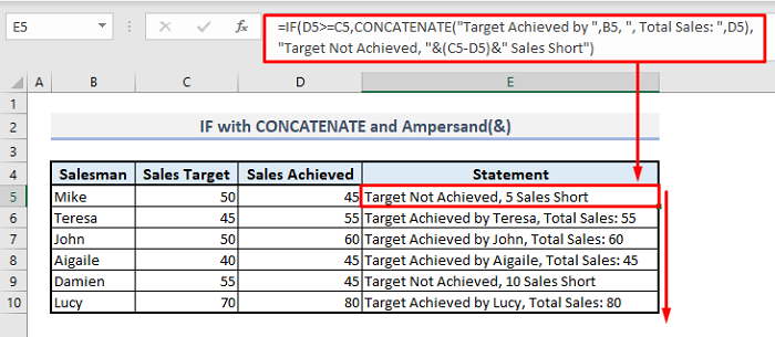 if function with concatenate and ampersand in excel