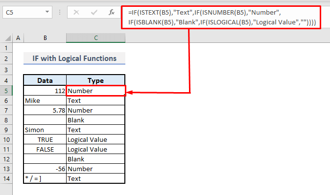 if with isnumber islogical isblank istext in excel