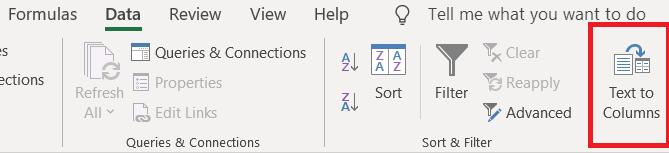 Press the Text to Columns option
