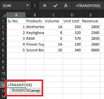 Transpose Function Excel