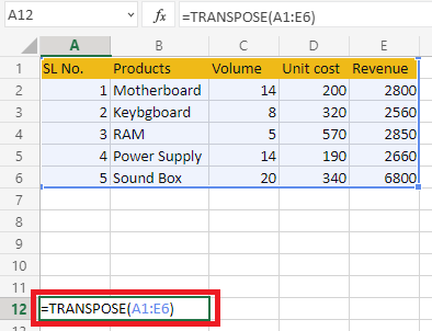 Using Transpose Function in Excel to convert a column to row in excel