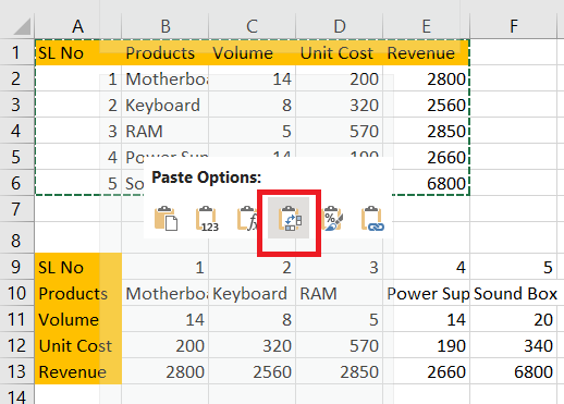 Transpose Command in Excel