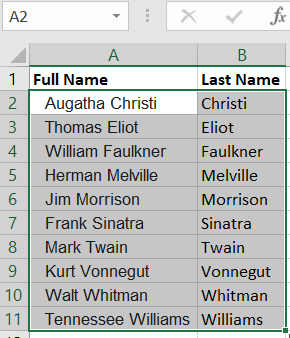 Full names appear alphabetically based on the last name.