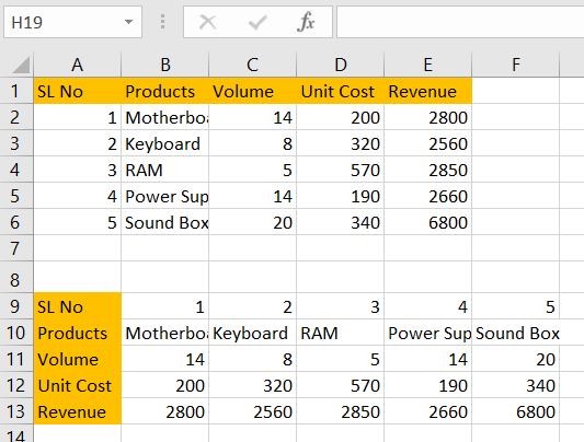 How to Convert columns to rows in excel