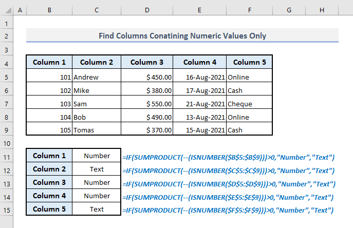 isnumber and sumproduct to find columns containing numbers only
