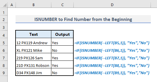isnumber and if functions to find number from the beginning in excel