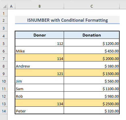 isnumber with conditional formatting in excel