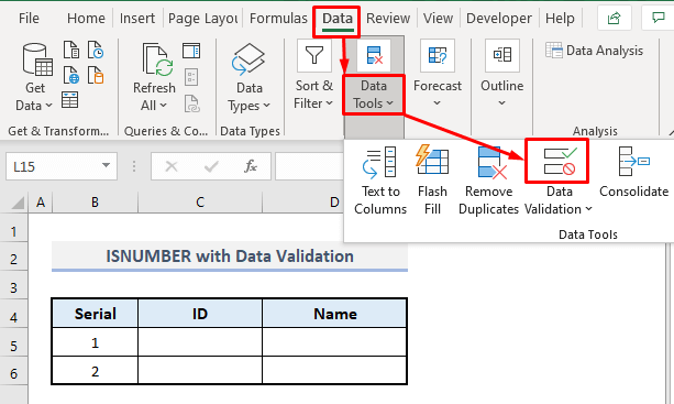 isnumber function with data validation in excel