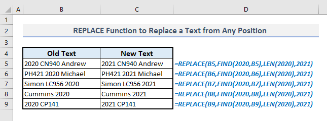 replace function to replace a text from any position in excel