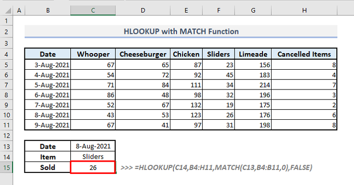 use of hlookup with match function in excel