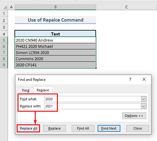 use of find and replace command in excel