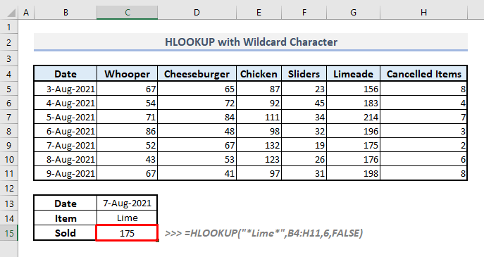 use of wildcard characters to search for approximate match with hlookup function in excel