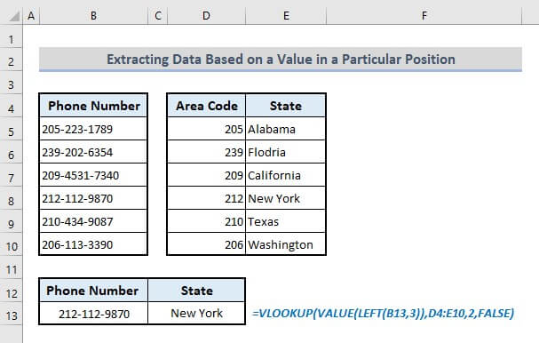 vlookup to extract data based on value in particular position within text in excel