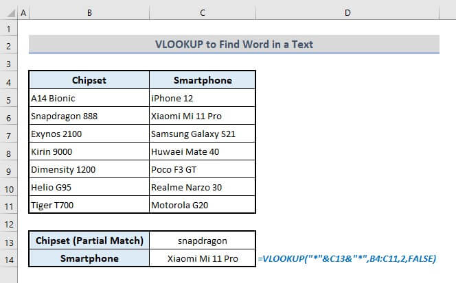 vlookup to find word within text in excel