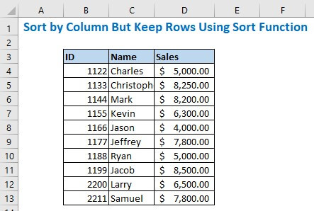 Sort by Column But Keep Rows Using Sort Function
