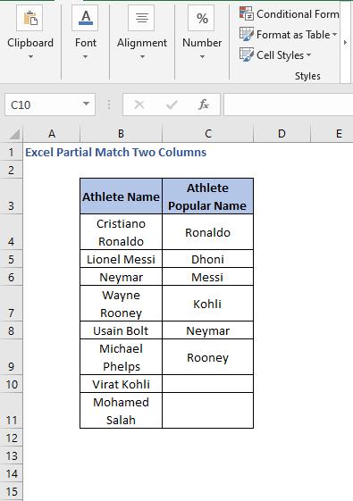 Dataset - Excel Partial Match Two Columns