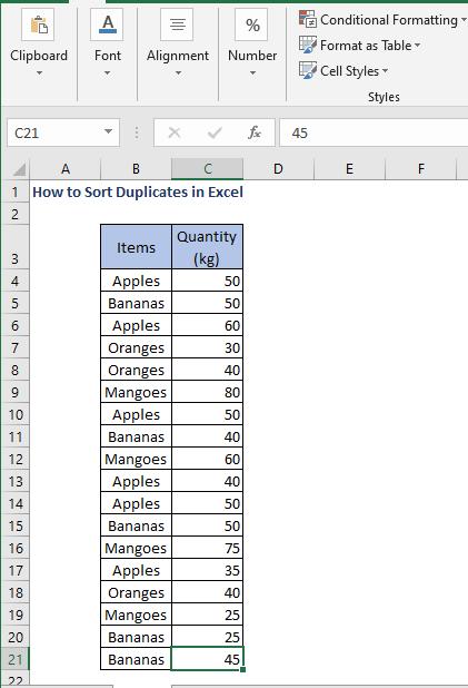 Dataset - How to Sort Duplicates in Excel
