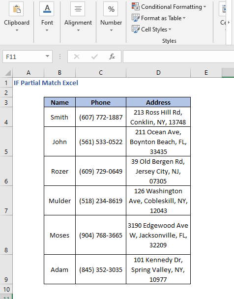 Dataset - IF Partial Match Excel