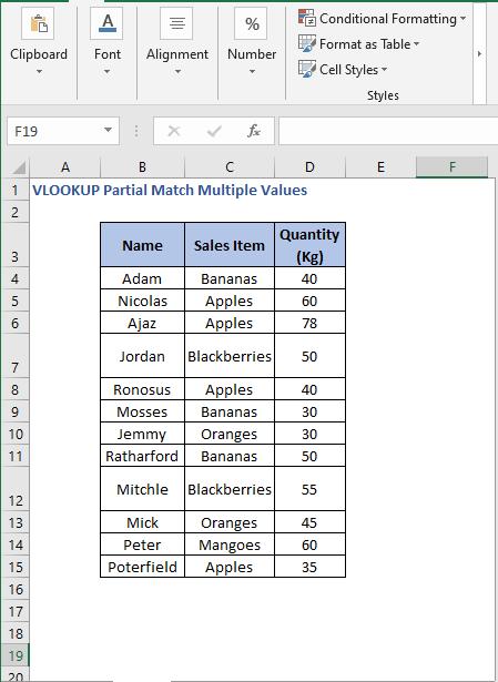 Dataset - VLOOKUP Partial Match Multiple Values