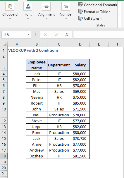 Dataset - VLOOKUP with 2 Conditions