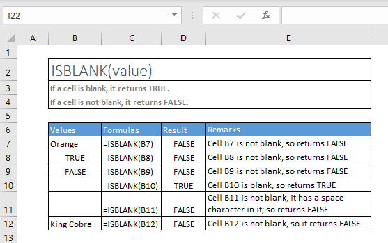 isblank function excel syntax and examples