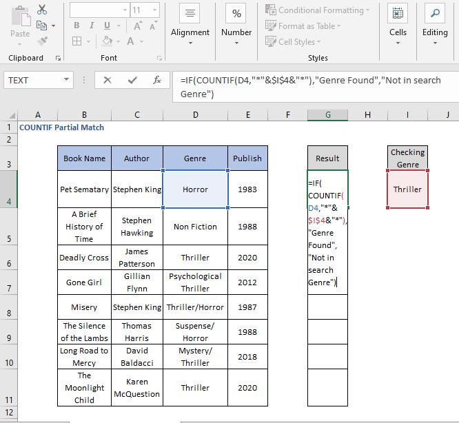 COUNTIF - IF Formula - COUNTIF Partial Match