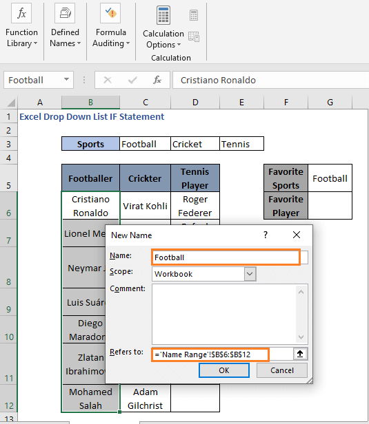 Set name to a range - Excel Drop Down List IF Statement