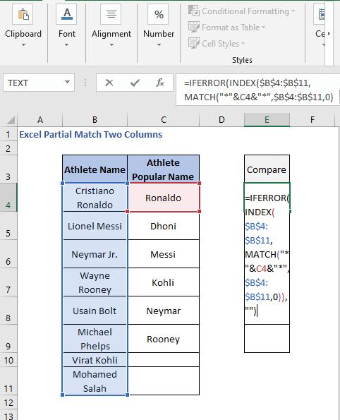 INDEX - MATCH formula - Excel Partial Match Two Columns