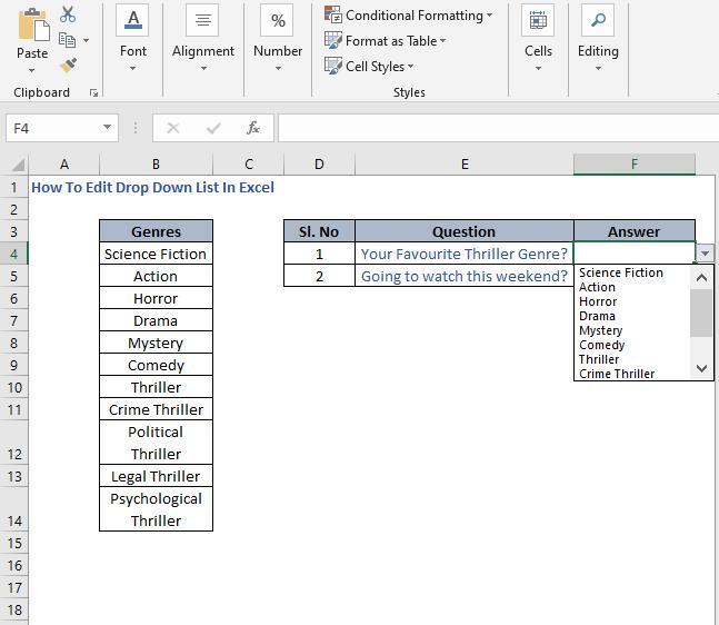 Error in list - How To Edit Drop Down List In Excel