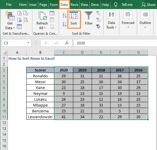 Select entire data - How to Sort Rows in Excel