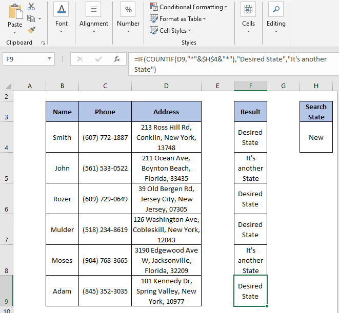 IF-COUNTIF autofill - IF Partial Match Excel