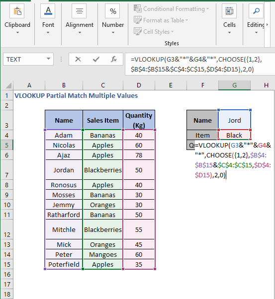 VLOOKUP - CHOOSE - VLOOKUP Partial Match Multiple Values