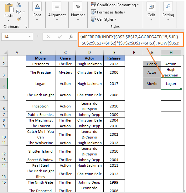 INDEX-AGGREGATE - Formula - Excel Extract Data From Table Based On Multiple Criteria