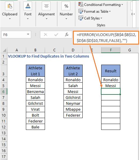 IFERROR VLOOKUP Formula result 2 - VLOOKUP to Find Duplicates in Two Columns