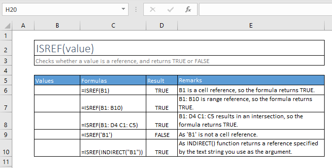 isref function excel syntax and examples