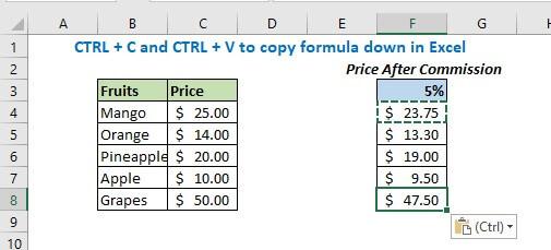 Copy formula down
