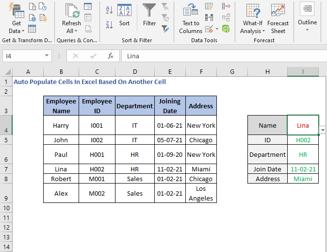 Change of Name - Auto Populate Cells In Excel Based On Another Cell