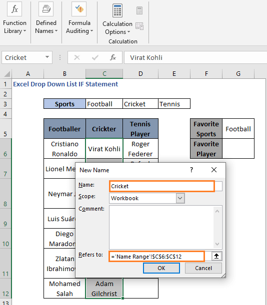 Set name to a range 2 - Excel Drop Down List IF Statement
