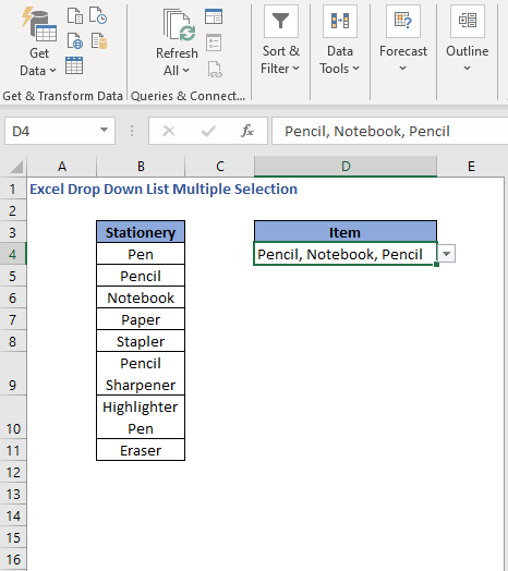 Duplicates in selection - Excel Drop Down List Multiple Selection