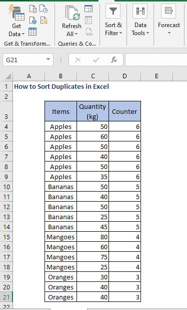 Sort in descending order - How to Sort Duplicates in Excel