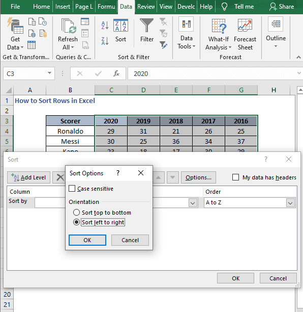 Sort left to right 2 - How to Sort Rows in Excel