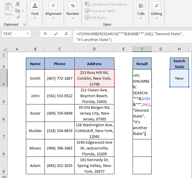ISNUMBER - SEARCH formula - IF Partial Match Excel